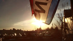 0832 Open Flag at Sunset, Slow Motion  Stock Footage