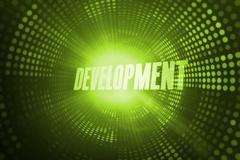 Development against green pixel spiral Stock Illustration