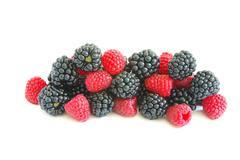 blackberry and raspberry - stock photo