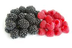 Raspberry and blackberry Stock Photos