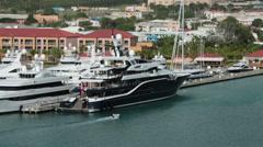 Marina harbor St Thomas USVI luxury yachts HD 0964 Stock Footage