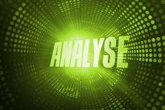 Stock Illustration of Analyse against green pixel spiral