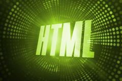 Html against green pixel spiral Stock Illustration
