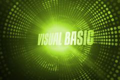 Visual basic against green pixel spiral Stock Illustration