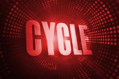Cycle against red pixel spiral Stock Illustration