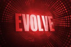 Evolve against red pixel spiral Stock Illustration