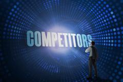 Competitors against futuristic dotted blue and black background - stock illustration