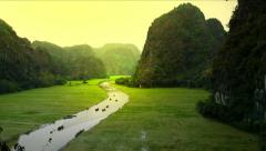Vietnam river landscape and rice fields panoramic view Ninh Binh. Asia travel HD - stock footage