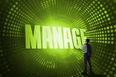 Manage against green pixel spiral - stock illustration