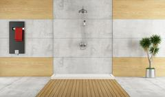 Minimalist bathroom with shower Stock Illustration
