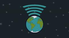 Earth like wireless Network Stock Footage