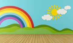 Stock Illustration of empty playroom with rainbow and green hills