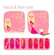 Hand & nail care Stock Illustration