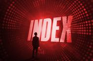 Stock Illustration of Index against red pixel spiral