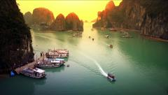 Halong Bay Vietnam landscape timelapse panoramic view of boats harbor traffic Stock Footage