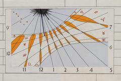 Modern sun dial / solar clock Stock Photos