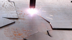 Heavy industry - The industrial laser cuts a metal sheet. Stock Footage