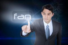 Fan against futuristic background with circuit board - stock illustration