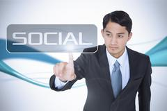 Social against abstract blue line son white background Stock Illustration