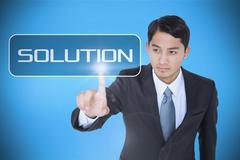 Stock Illustration of Solution against blue background with vignette