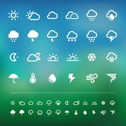 retina weather icon set - stock illustration
