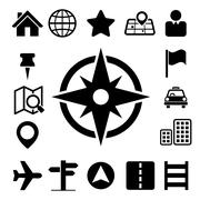 map and location icons set - stock illustration
