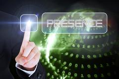 Businesswomans finger touching Presence button - stock illustration