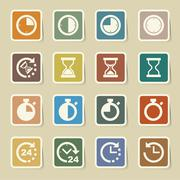 Clocks and time icons set Stock Illustration