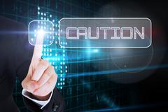 Businesswomans finger touching Caution button Stock Illustration