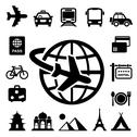 Stock Illustration of travel and vacation icons set
