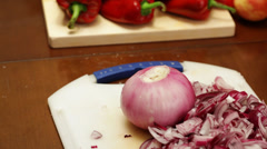 Red onions chopping Stock Footage
