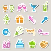 Party and celebration icon set. Stock Illustration