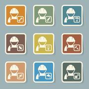 construction icons set - stock illustration