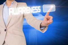 Businesswomans finger touching awareness button Stock Illustration