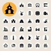 buildings icon set - stock illustration
