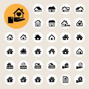 houses icons set. real estate. - stock illustration
