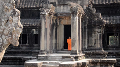 Cambodian monks in angkor wat temple Stock Footage