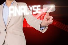 Businesswomans finger touching analyse button - stock illustration