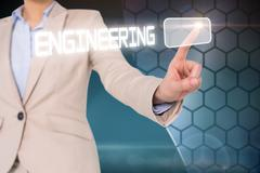 Businesswomans finger touching engineering button Stock Illustration