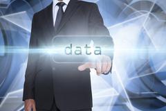 Data against white abstract angular design - stock illustration