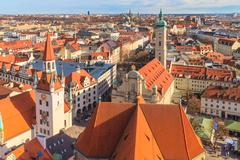 munich panorama with old city hall, holy spirit church and viktualienmarkt, b - stock photo