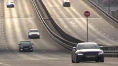 Urban free highway with individual cars - stock footage
