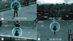 Surveillance monitor of a female agent Stock Footage