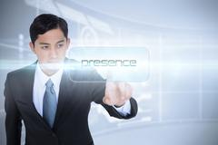 Presence against futuristic technology interface Stock Illustration