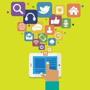 tablet with social media icons - stock illustration