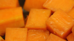 Pumpkin pan frying close up;  Stock Footage