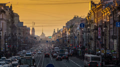 Saint-Petersburg, RUSSIA - Feb 26 2014, Timelapse 4k: Pedestrians and cars movin Stock Footage