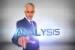Analysis against grey wall Stock Illustration