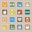 Stock Illustration of fitness and health icons.