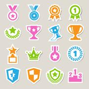 trophy and awards icons set - stock illustration
